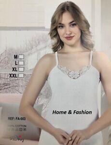 Ladies Plain Cotton Vest Top Lace Trim