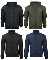 New Mens Crosshatch Lightweight Windbreaker Showerproof Hooded Jacket Coat Rain