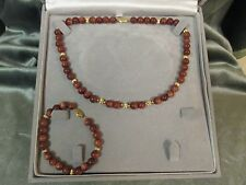 Gold stone Neckless and Bracelet  SET with 14kt gold Beads and clasps.