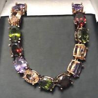 Antique 28 Ct Multi-Color Topaz Tennis Bracelet 14K Rose Gold Plated Jewelry