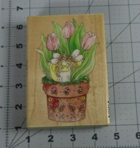 Stamps Happen Inc. Wood Mounted Rubber Stamp - TULIP - #80097 Fairy Potted Plant