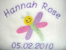 PERSONALISED BABY BLANKET Dragonfly choice of 6 colours