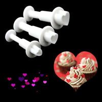 Love Heart Fondant Plunger Cutters Icing Mould Cake Decorating Baking Tool 3Pcs