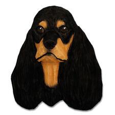 American Cocker Spaniel Head Plaque Figurine Black/Tan