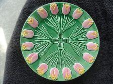 Albert Kessler & Co. Luncheon/Salad Plate Embossed Pink Yellow Tulips Green