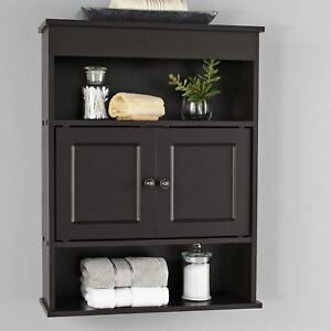 Mainstays Bathroom Wall Mounted Storage Cabinet with 2 Shelves, Espresso