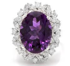 9.10Ct Natural Amethyst & Diamond 14K Solid White Gold Ring