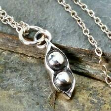 Two Peas in a Pod Necklace - 925 Sterling Silver Twins Sisters Friends Charm NEW