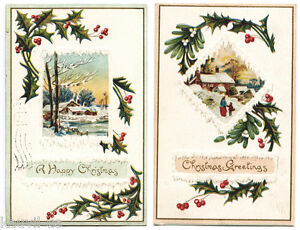 2 Antique Embossed Christmas Greeting Cards / Postcards 1910