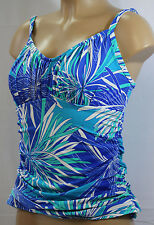 NWT NEW Swim Solutions SHW STPR PSNT Tankini Top Floral Blue Size 10