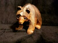 Unique Hand Carved Ironwood Grizzly Bear Figurine Wood Carving