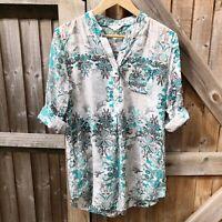 White Stuff Green Mix Floral Cotton Silk Blend Tunic Blouse Size 14 VGC