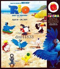2011 McDonalds Rio, the Movie Complete MIP Set - Lot of 8, Boys & Girls, 3+