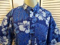 Mens VTG HILO HATTIE Floral Hawaiian Camp ALOHA Shirt BLUE & WHITE L LG Large