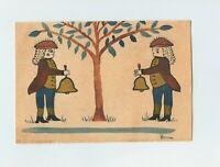 Vera Seagreaves James Handpainted Colonial Christmas Card 1976 American Folk Art