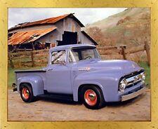 Ford F 100 V8 Pickup Vintage Truck Golden Framed Picture Art Print (18x22)