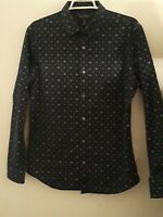 Banana Republic Button Up Shirt Mens 33-34 Non Iron Slim Fit Blue Long Sleeve
