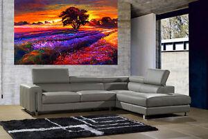 A0 SUPER SIZE CANVAS landscape art painting print sunset field tree farm