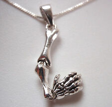 Hand and Arm Skeleton Necklace 925 Sterling Silver with Two Articulating Joints