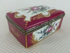 Beautiful Large Antique LIMOGES Hinged Trinket Box, Red Floral with Gold Accents