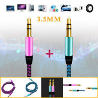 2x 3.5mm Male to Male Aux Jack Audio Cable Cord Car Headphone Flexible 3.28ft/1m