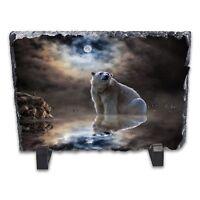 Moonlight Polar Bear Rock Slate Photo Frame - Rectangle