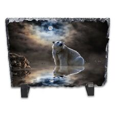Moonlight Polar Bear Rock Slate Photo Frame - Rectangle