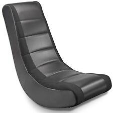 Classic Video Rocker Chair w/ Mesh Racing Stripes Gaming Seat Hardwood Frame
