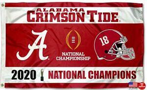 Alabama Crimson Tide National Football 2020 Champions 3X5 Flag Man Cave Banner