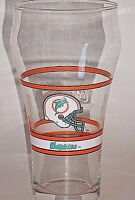 "Miami Dolphins Coca Cola 1980s NFL Flared Glass 6"" Tall Team Helmet Logo Clear"