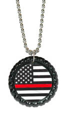 Firefighter's Remembrance Flag Thin Red Line Bottle Cap Necklace (CAP016a)