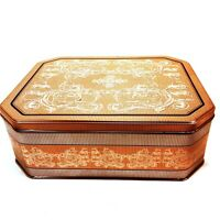 Large Gold & Silver Rectangular Tin Decorated w/ Ornate Scrollwork & Designs