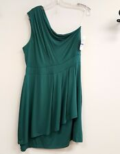 BAR lll Size XL Teal Green Stretchy One Shoulder Empire Layered Draped Dress NEW