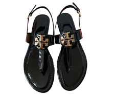Tory Burch NEW Bryce Claire Black Patent Leather Thong Ankle Strap Sandals  $228