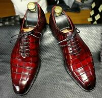 Mens Handmade Shoes Burgundy Leather Crocodile Patterned Lace up Formal Boot New