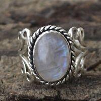 Bague Pierre de lune en argent sterling avec pierre naturelle ovale et rétro