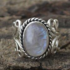 1Pc Women's Boho Natural Gemstone Sterling Silver Plated Rainbow Moonstone Ring