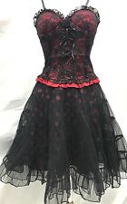 Gothic Steampunk 2pcs Victorian Lycra Lace Over Top & Polka Rara Size SM10/12