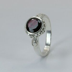 Size 9 Round Red GARNET Ring 925 STERLING SILVER #32