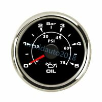 52mm Universal Boat Oil Pressure Gauge Marine Engine Oil Press Meter 5Bar 75PSI