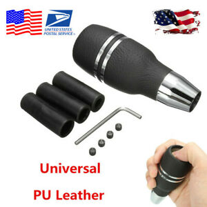 Aluminum PU Leather Car Automatic Gear Stick Shift Knob Shifter Lever+ Adapter