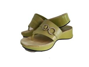 Enzo Angiolini Women's Lime Green Wedge Thong Sandal Size 6