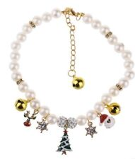 Holiday Pearl Dog Charm Collar Christmas Tree Santa Bells For Pig Cat Duck Small