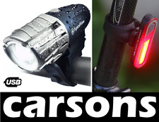 front & rear 7 led USB rechargeable bike lights set kit light cycling CARSONS UK