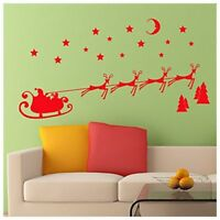 Christmas Wall Sticker Santa Sleigh and Reindeer Self Adhesive Decoration Z K8V5