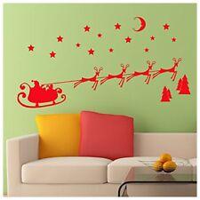 Christmas Wall Sticker Santa Sleigh and Reindeer Self Adhesive Decoration Z K8V5
