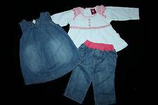 Kombination Jeans Kleid + LA-Shirt + Jeans Hose F&F, 3-6 Mon (Gr 62 68), wie neu