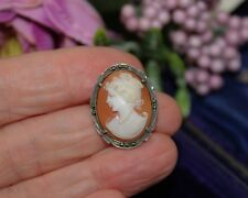 VINTAGE CONTINENTAL SILVER CARVED CAMEO SHELL BROOCH / PENDANT - BEAUTIFUL !