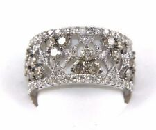 Fancy Color Diamond Wide Spiderweb Ring Band 14k White Gold 3.50Ct
