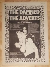 Damned Adverts tour  Punk 1977 press advert Full page 28 x 38 cm poster